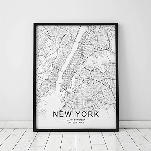 - New York Map Wall Art New York Street Map Print New York Map Decor City Road Art Black and White City Map Office Wall Hanging 11x14inch Unframed