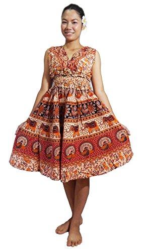 [Lovely Creations Women's Plus Size Bohemian Boho Gypsy Multi Color Printed Empire Waist Dress (Y OE-orange)] (Italy Cotton Dress)