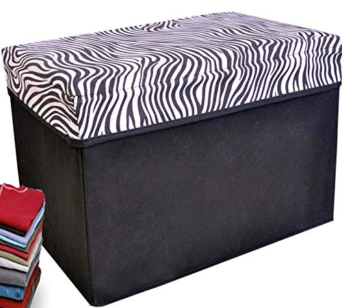 Collapsible Storage Ottoman, Rectangle Shape (Zebra, used for sale  Delivered anywhere in USA