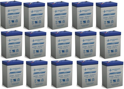 PS-640 SLA 6 Volt 4.5 Ah Capacity F1 Terminal - 15 Pack by Powersonic