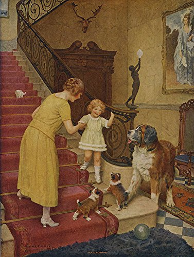 (Vintage 1925 Art Nouveau Victorian Hearth & Home Art Print by Arthur John Elsley Titled Good Morning Featuring a Young Family and St Bernard)