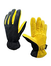 SKYDEER Mens Winter Sport Gloves with Premium Genuine Deerskin Leather Suede and Polar Fleece (SD5166T/L)