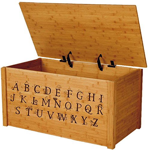Wood Toy Box, Large ABC Toy Chest in Bamboo, Thematic Font, Custom Options (Standard Base)