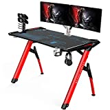 Kinsal Blade Series Gaming Style Computer Desk Office Desk Student Table PC Desk with RGB LED Lights & Cup Holder & Gamer Workstation & Headphone Hook and King Sized Mouse Pad (RGB Lights)
