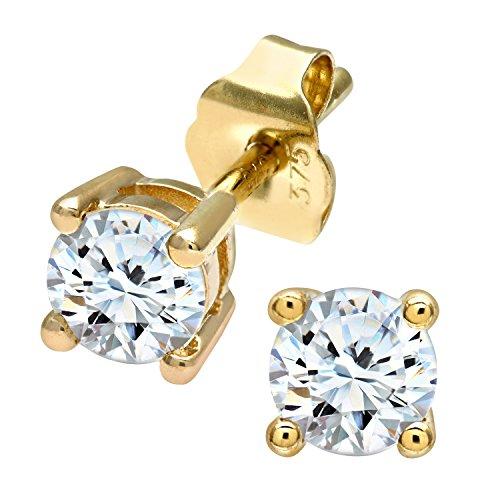 Revoni Bague en or jaune 9carats-Mesdames 50pt simple Pierre diamant Boucles d'oreilles