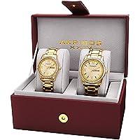 Akribos XXIV Men's and Women's AK888YG  Watch with Yellow Gold Dial and  Bracelet Ensemble Set
