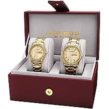 Akribos XXIV Men's and Women's AK888 Watch with Yellow Gold Dial and Bracelet Ensemble Set (Yellow Gold)
