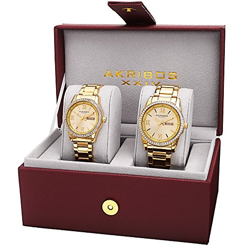 Akribos XXIV Men's and Women's AK888YG  Watch with Yellow Gold Dial and  Bracelet Ensemble Set