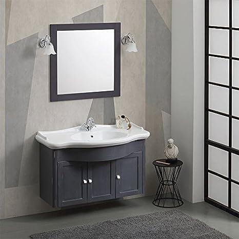 Arredo Bagno Classico Sospeso.Mobile Bagno Shabby Sospeso Marsiglia Ardesia Con Lavabo E Specchio