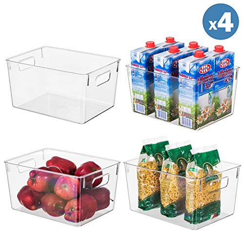 "Clear Plastic Storage Organizer Container Bins with Cutout Handles, Transparent Set of 4 | BPA Free, Kitchen Cabinet Storage Bins, 11"" x 8"" x 6"" Each"