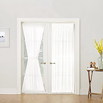 Superb French Door Curtain Panel Linen Look 72 Inch Sheer Curtain White, Tieback  Included, Sold