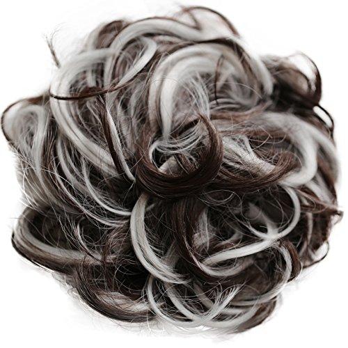 Scrunchie Peppers (PRETTYSHOP Hairpiece Hair Rubber Scrunchie Scrunchy Updos VOLUMINOUS Curly Messy Bun dark brown gray mix # 4Hgray G34E)