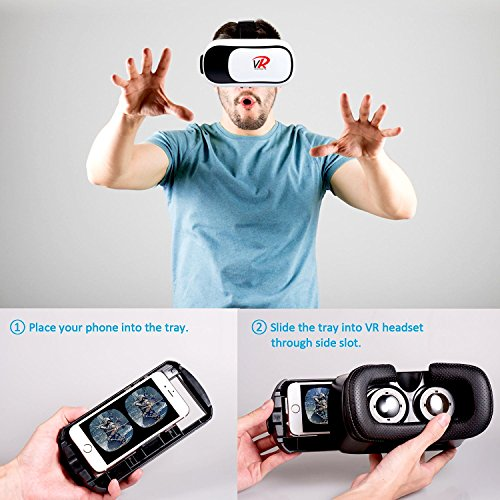 VR Headset Virtual Reality VR 3D Phone Headset Video Glasses Helmet Movies Games for 4.7-6' Phone iPhone 5,6,7 & Android
