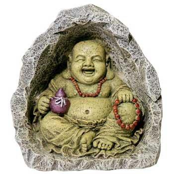 Blue Ribbon Pet Products Resin Aquarium Ornament - Buddha In Cave 5 Inch