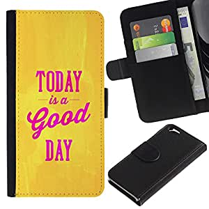 KingStore / Leather Etui en cuir / Apple Iphone 6 / Hoy es un texto Good Day Oro Amarillo Rosa