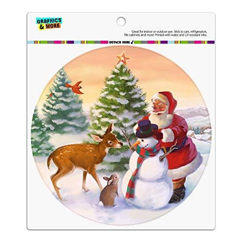 Christmas Holiday Santa and Animals Finishing Snowman Automotive Car Refrigerator Locker Vinyl Circle Magnet