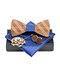 Amzchoice Classic Handmade Mens Wood Bow Tie with Matching Pocket Square Men's Cufflinks Lapel Flower Set