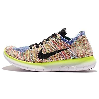 Nike Women's Free Running Motion Flyknit Shoes, White/Black/Blue/Hyper Punch - 10 B(M) US