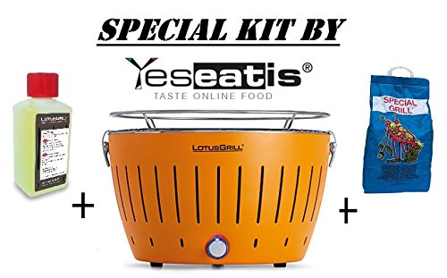 LOTUSGRILL NEW KIT by YESEATIS 2017 - Tabelle Grill + Ignition Kit Charcoal Hochleistungs und Gele - ORANGE