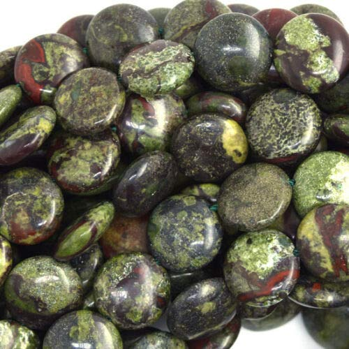 - 12mm Dragon Blood Jasper Coin Beads 16