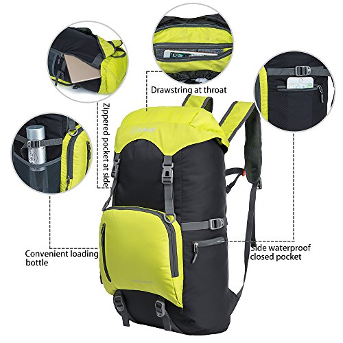 Daypack 40L Backpack Fluorescent Large for Foldable ZOMAKE Lightweight Packable Yellow Hiking Resistant Travel Water UHqw1zxd