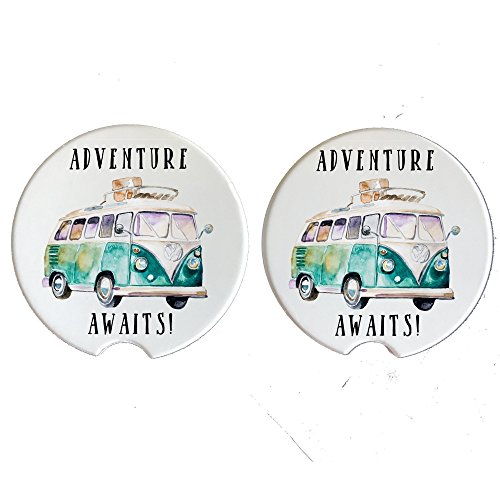 (Adventure Awaits - Car Coasters - Natural Absorbent Sandstone (Set of 2) Volkswagon)