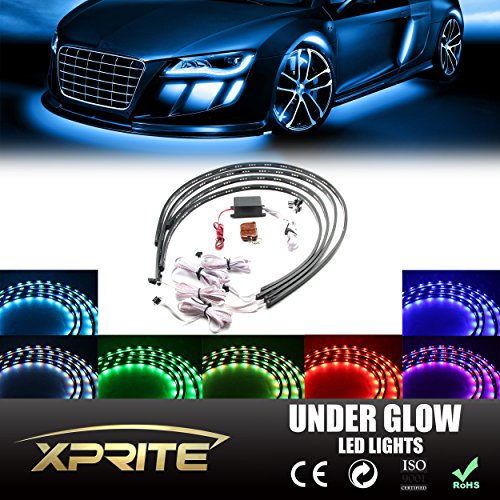 Xprite 7 Color New Version 5050 SMD High Intensity LED Car Underglow Underbody System Neon Strip Lights Kit 48