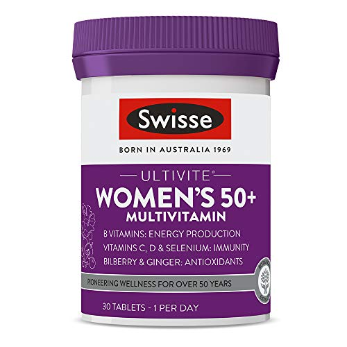 Swisse Ultivite Women's 50 Plus Daily Multivitamin Tablet Energy and Immunity Support Rich in Vitamins, Minerals and…