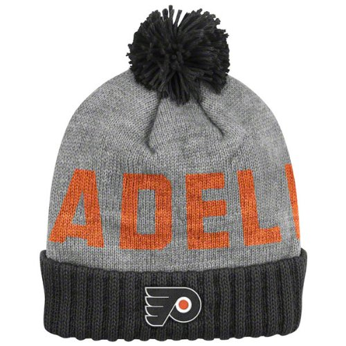 NHL Mitchell   Ness Philadelphia Flyers Gray-Black Breakaway Cuffed Knit  Beanie ddc22419eac