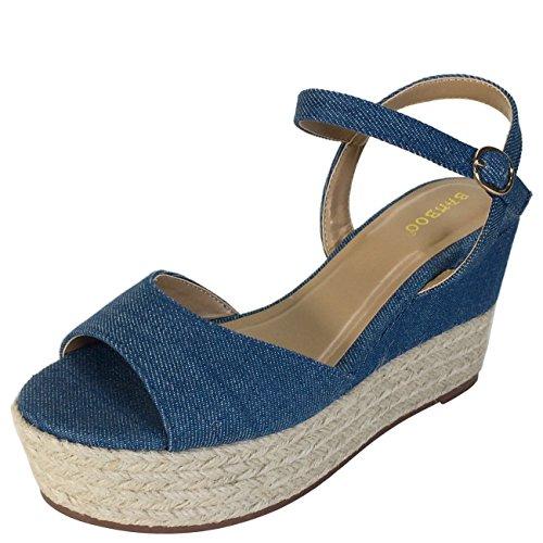 Sandalo Con Zeppa In Espadrilla Di Bambù Con Cinturino Blu Denim