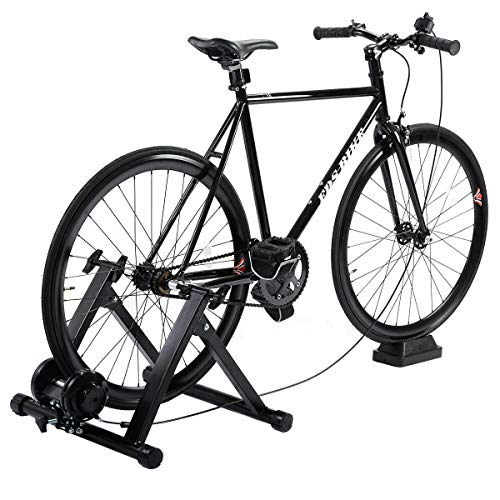 Black Cycle Handler Workout Pose Fits 26-28 Inches, 700C Bike with Quick Release, Handle Bars Change 5 Levels Magnetic Resistance Adaptable Convenient Indoor Training Bicycle Trainer Exercise Stand