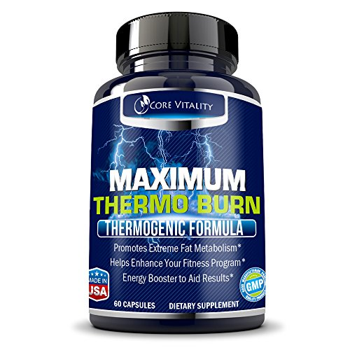 Maximum Thermogenic Fat Burner (Core Vitality Thermogenic Fat Burner Supplement - Extreme Fat Burning Pills - Boosts Metabolism & Energy - Shed Unwanted Body Fat and Lose Weight Fast - 30 Day)