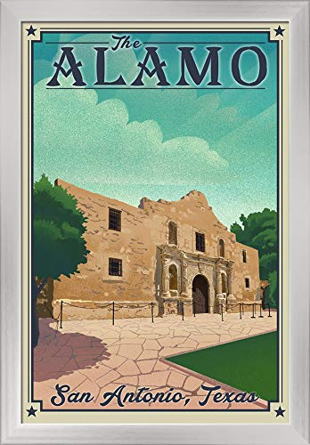 - San Antonio, Texas - The Alamo - Lithograph 95673 (16x24 Giclee Art Print, Gallery Framed, Silver Wood)