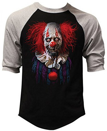 Interstate Apparel Inc Men's Zombie Clown Black/Gray Raglan Baseball T-Shirt 2X-Large Black/Gray ()