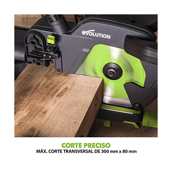 Evolution Power Tools F255SMS Sierra ingletadora deslizante multimaterial, 230 V, 255 mm