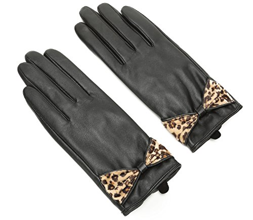 Ambesi Ladies Touchscreen Geniune Leather Winter Gloves with Leopard Bow Black M