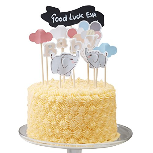 Ginger Ray Vintage Little One Baby Elephant Cake Decoration Topper Kit with Chalkboard Sign, (Baby Elephant Cake Topper)