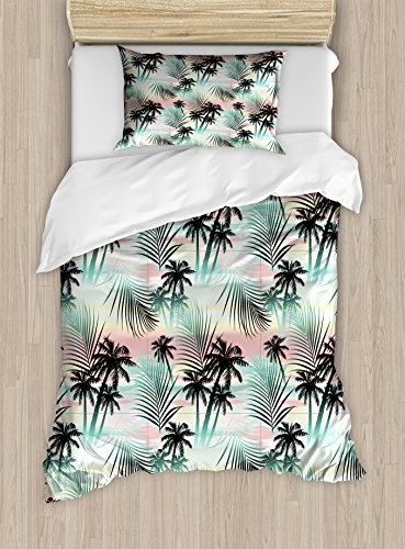 Tree Set Abstract (Ambesonne Hawaii Duvet Cover Set Twin Size, Summer Season Palm Trees and Exotic Fern Leaves with Abstract Colorful Background, Decorative 2 Piece Bedding Set with 1 Pillow Sham, Multicolor)