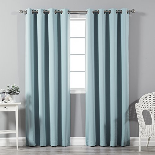 Best Home Fashion Premium Thermal Insulated Blackout Curtains - Antique Bronze Grommet Top -Turquoise - 52