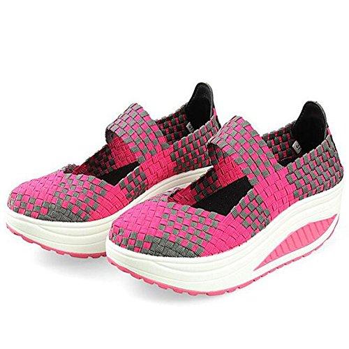 Summer Women Platform Sandals Handcraft Woven Shoes (9, Rose red)