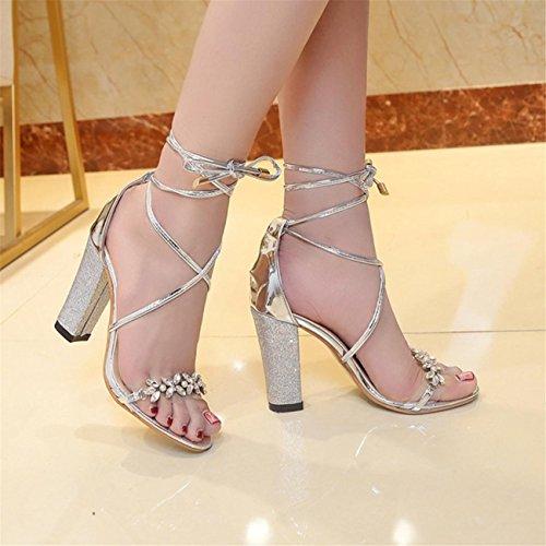 Party Chaussures Bouche Cheville Femmes Block Sandales De HwaEqB6