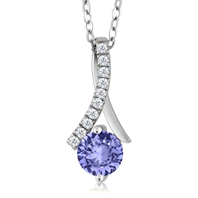fcdc58d9b Amazon.com: Gem Stone King Sterling Silver Tanzanite Women's Pendant  Necklace (1.05 cttw, With 18 Inch Silver Chain): Jewelry