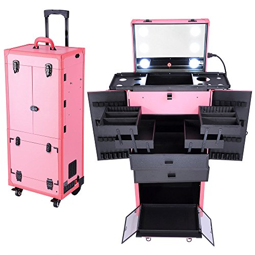 Aw Pink Rolling Makeup Case Pro Hair Stylist Barber