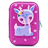 3D Cute Deer Hardtop Pencil Case - Kids Large Colored Pen Holder Box With Compartments - Girls Cosmetic Pouch Bag Stationery Organizer (Purple)