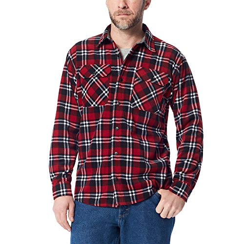 Wrangler Authentics Men's Long Sleeve Plaid Fleece Shirt, Rio red Tartan, -