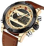 Multifunctional Digital Brown Leather LED Sport Men Watches Gold Military Men's Quartz Wrist Watch