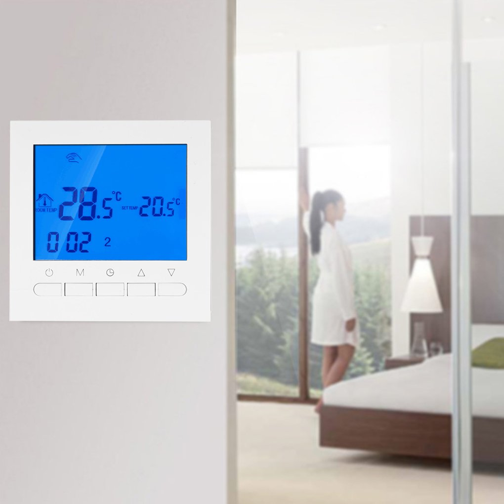 Termostato programable del wifi el/éctrico o term/óstato de la calefacci/ón de piso del agua Pantalla LCD Controlador de temperatura elegante de WIFI