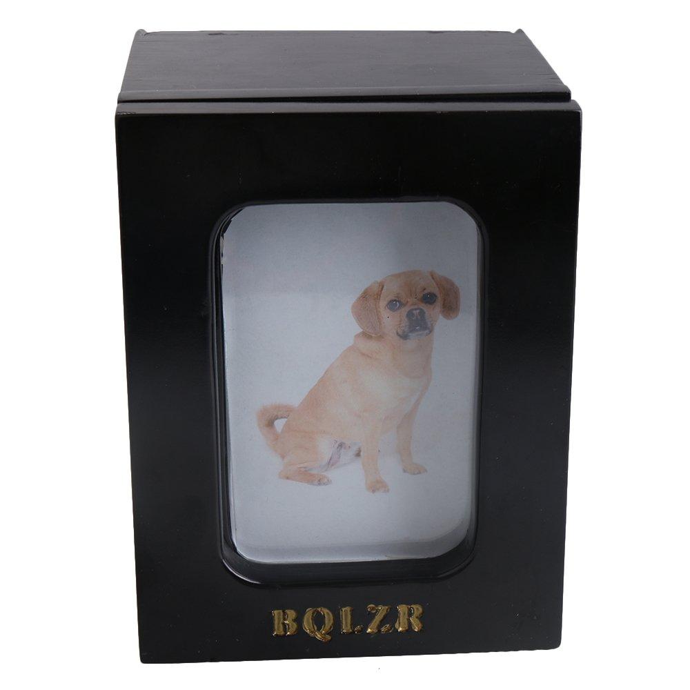 BQLZR 165x 125x 120mm Noir Bois de Cèdre télescopique Cadre photo pour chien et chat Urne funéraire Mémorial souvenir Box BQLZRN28623