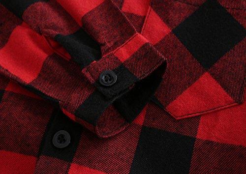 Grandwish Kids Long Sleeve Boy's Girl's Plaid Flannel Shirt Red Black 6 by Grandwish (Image #6)