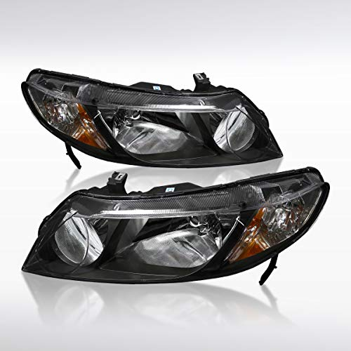 Autozensation Honda Civic 4Dr Sedan Replacement JDM Black Headlights Lamps -